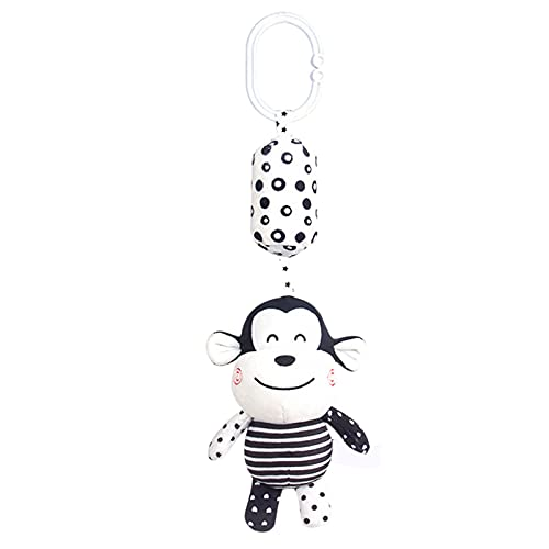 Arco de juguete, juguete para cochecito, juguete colgante para cochecito, juguete colgante para recién nacidos, peluche con cascabel, color blanco y negro