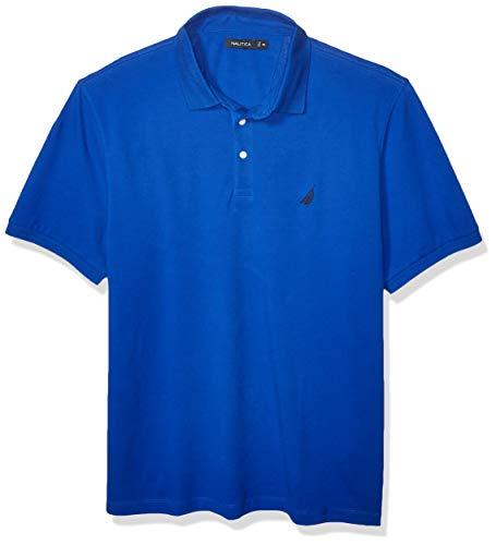 Nautica Men's Short Sleeve Solid Stretch Cotton Pique Polo Shirt, Bright Cobalt, Large