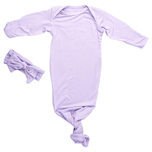 Three Little Tots Tags4Tots Newborn Baby Knotted Tie Gown - Infant (Lavender)