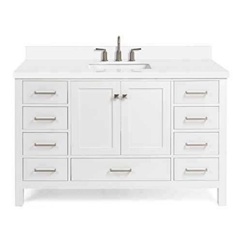 """ARIEL 55"""" Inch White Bathroom Vanity with Pure White Quartz Countertop 