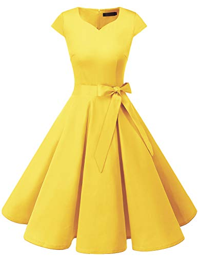 Dresstells Damen Vintage 50er Cap Sleeves Rockabilly Swing Kleider Retro Hepburn Stil Cocktailkleid Yelllow L