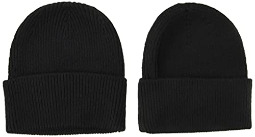 Amazon Essentials 2-Pack Knit Hat Skull-Caps, Negro, One Size