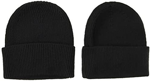 Amazon Essentials 2-Pack Knit Hat Skull-Caps, Negro, One...