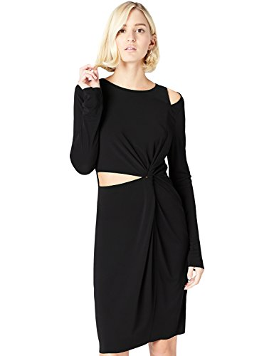 Amazon-Marke: find. Kleid Damen asymmetrisch und Off Shoulder, Schwarz, 36, Label: S