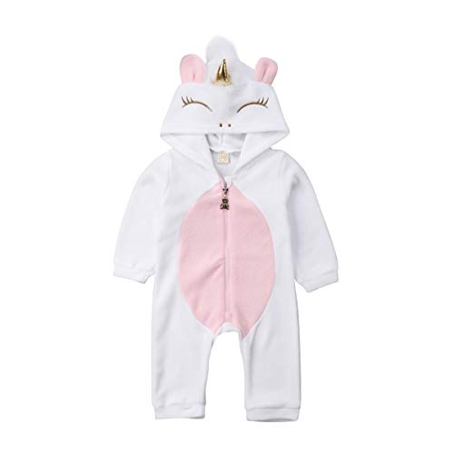 Mono Bebé Niña Pijama Unicornio con Capucha Traje de Dormir Pelele Infantil de Manga Larga Ropa Mameluco Animal con Cremallera para Bebés Recién Nacido (0-24 Meses)