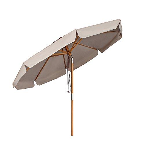Sekey® Sonneschirm 300 cm Holz-Sonnenschirm Marktschirm Gartenschirm Terrassenschirm Rund UV50+ Taupe