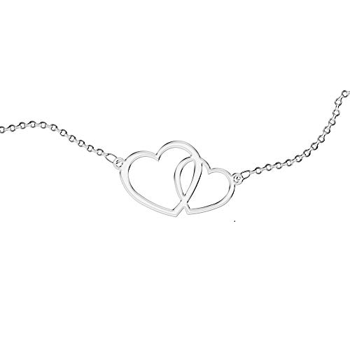 Collar personalizado, para mujer, con símbolos. Use su símbolo. Acero inoxidable e hipoalergénico. Color plata. Diseñado en Italia. (CORAZONES ENTRELAZADOS)