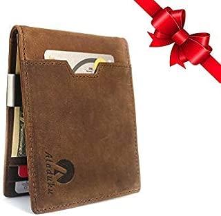 RFID Blocking Slim Bifold Genuine Leather Minimalist Front Pocket Wallets for Men with Money Clip