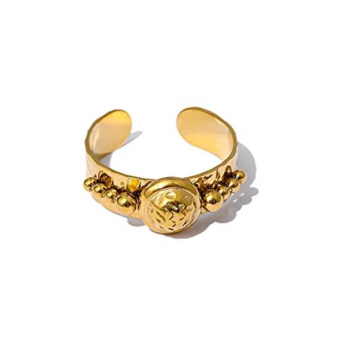 Anillo de apertura de cuentas redondas de moda, acero inoxidable resistente al agua, 18 K, accesorios de anillo de metal para mujer, regalo