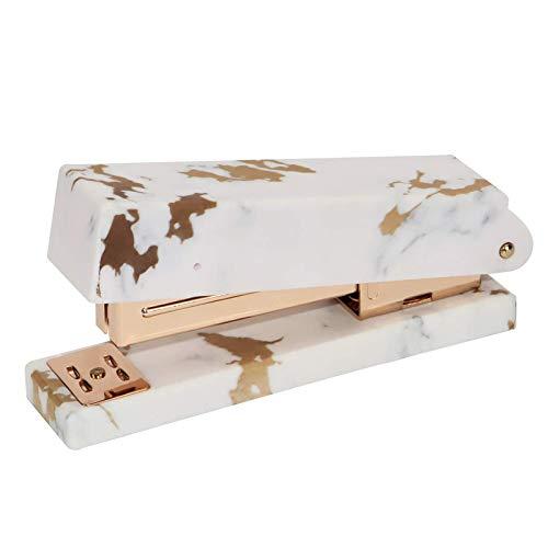 Multibey Marble Gold Texture Stapler for Desk Office Heavy Duty Desktop Staplers 950Pcs 24/6 26/6 Rose Gold Staples Paper Binding School Stationery Stapling Tool