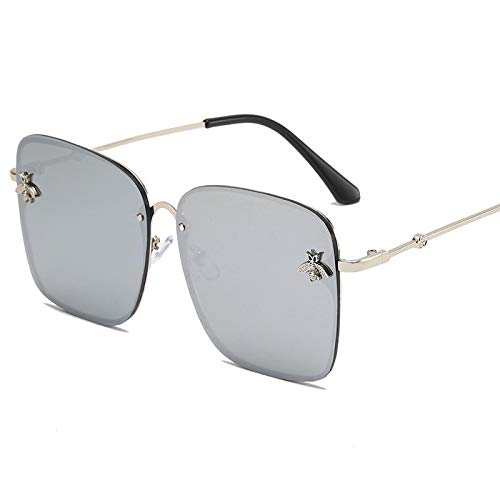 NJJX Gafas De Sol Mujer Marco De Metal Gafas De Sol De Gran Tamaño Moda Hombre Tonos Degradados Blanco