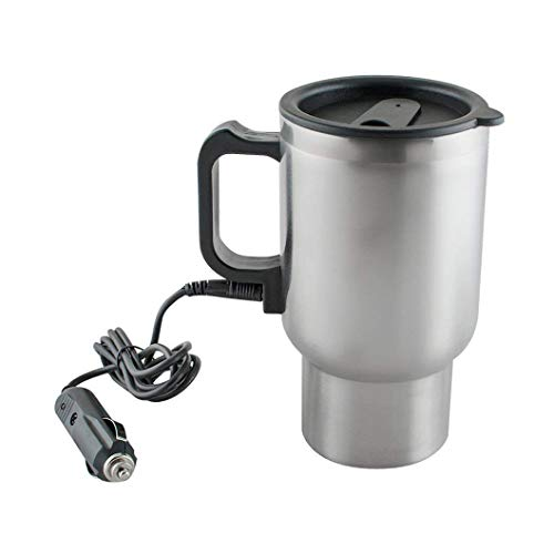 ARTHARVAA Retail Travel Electric Car Kettle // Portable Stainless Steel Outdoor Kettle 12V 400ML for Most Travel (Silver)