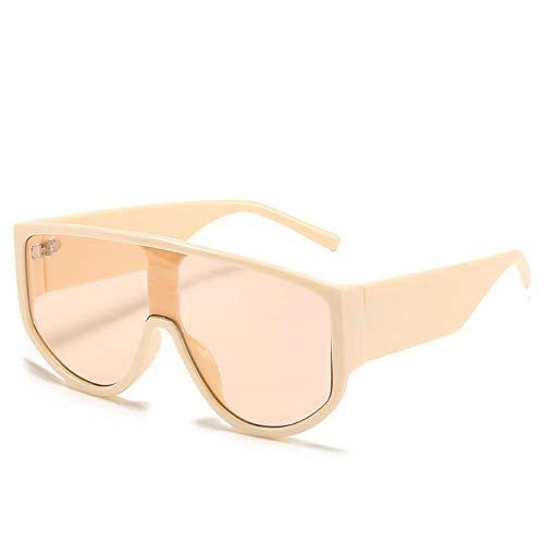 YHKF Gafas De Sol De Gran Tamaño con Montura Grande para Mujer, Gafas De Sol con Parte Superior Plana Grande para Hombre, Gafas De Sol Cuadradas De Moda Uv400-Beige