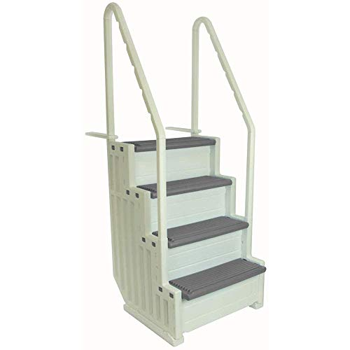 Confer Plastics Above Ground Swimming Pool Ladder   Heavy Duty   White Frame with Grey Steps   Deck...