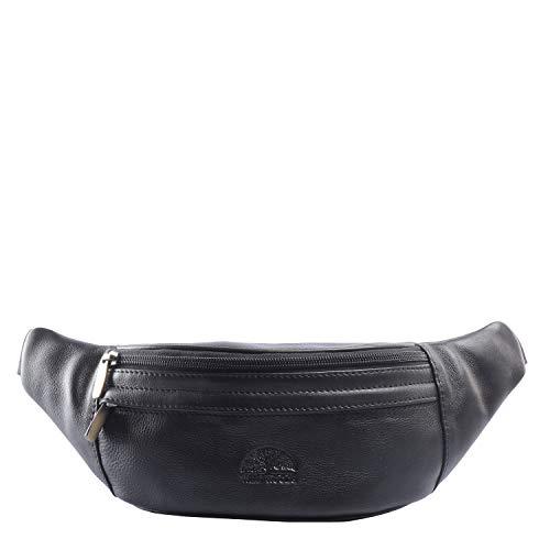 WILD WOODS - Modische Bauchtasche Echt Leder Gürteltasche Unisex Hüfttasche aus weichem Rind-Nappaleder in Schwarz