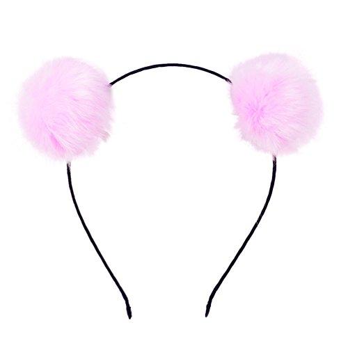 BAOBAO Faux Fluffy Rabbit Fur Ball Cat Ears Panda Hair Hoop Headband Xmas Party Cosplay Pink