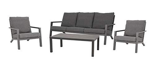 lifestyle4living Lounge - Juego de Muebles de jardín (Aluminio), Color Gris Sillas de jardín y Banco, Incluye cojín, Mesa de cerámica, Resistente a la Intemperie. Ideal para jardín y terraza.