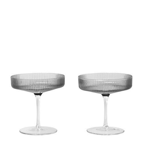Ferm Living 5444 - Calici da spumante, Vetro, grigio., mundgeblasenes Glas/H 11cm/Ø 10.5cm