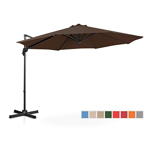 Uniprodo Ombrellone Decentrato Ombrello da Giardino Uni_Umbrella_2R300BR (Marrone, Rotondo, Ø 300 cm, Girevole)