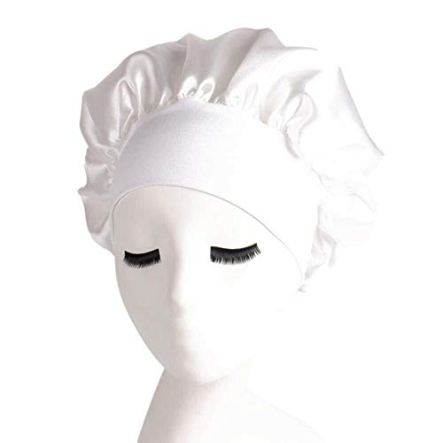 Ltong Sleeping Hat Night Sleep Cap Hair Care Bonnet Nightcap pour Femmes Hommes Style Bonnets De Douche, Blanc