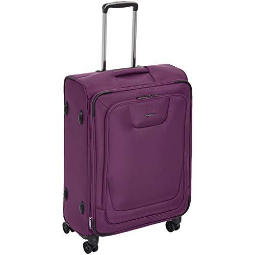 AmazonBasics, Premium, valigia espandibile, morbida, con rotelle multidirezionali e chiusura TSA, 64 cm, Viola