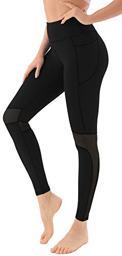 Persit Damen Sport Leggings, High Waist Lang Sporthose Yogahose Sportleggins Tights Schwarz 40/42(Herstellergröße L)