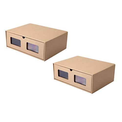 YARNOW 6Pcs Boîte à Chaussures Empilable Boîte de Rangement pour Chaussures en Carton Organisateurs de Conteneurs à Chaussures Pliables avec Fenêtre Visible (42X32x15cm)