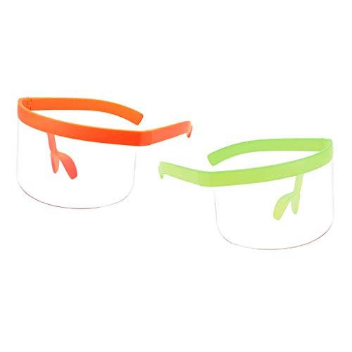 F Fityle Gafas de Sol de 2 Piezas con Escudo de Moda - Verde + Naranja