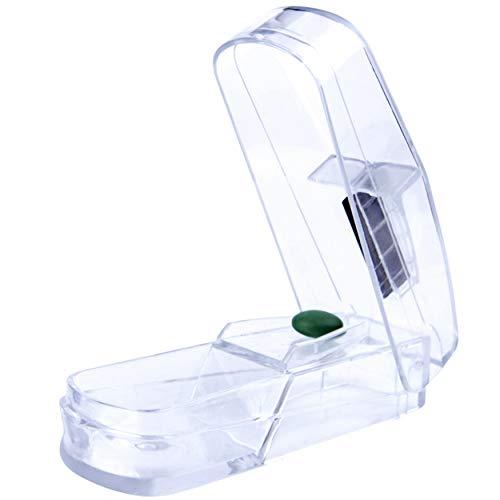 Dr. Zeus Premium Tablettenteiler, Tablettenschneider mit rostfreier Edelstahlklinge - Pillenteiler für kleine und große Tabletten – Medikamententeiler mit Aufbewahrungsfach – teilt Pillen exakt