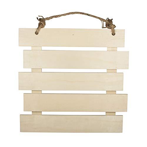 Rayher 62865505 targa per porta da appendere, in legno naturale, composta da listelli in legno, dimensioni 30,5x31,6x1,5cm, per decorare e colorare, decorazione murale