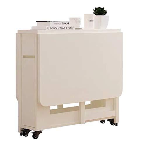 XL Mesa Plegable de Madera Mesa de Comedor Plegable para Oficina Sala de Estar Cocina Mesa RetráCtil MóVil con Ruedas Antideslizante Ahorro de Espacio MultifuncióN Extensible 120 × 80 × 74 cm Peso32kg