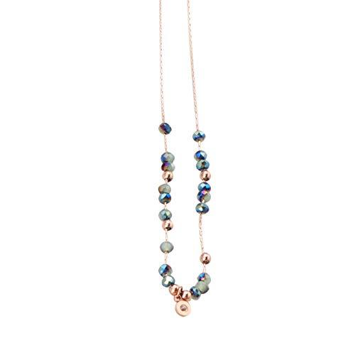 Happyyami Collar de Cristal Abalorio Collar de Suéter de Cadena de Acero de Titanio Collar de Hilo Hecho a Mano Collar de Rebeca con Cuentas Collar de Joyas (Dorado)