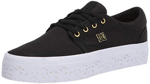 DC Women's Trase Platform TX SE Skate Shoe, Black/Gold, 9.5 B M US