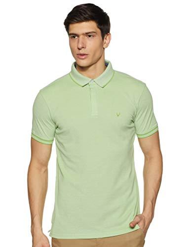 Allen Solly Men's Plain Regular Fit Polo (ASKPQRGFJ52168_Green L)