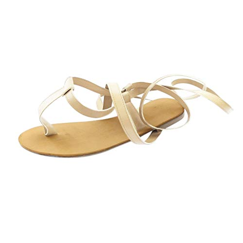 Zehentrennersandalen Für Damen/Dorical Frauen Damenschuhe Flip Flop Strand Sandalen Schuhe Flach Peep Toe Schnürsenkel Sandalen Ausverkauf(Gold,35 EU)