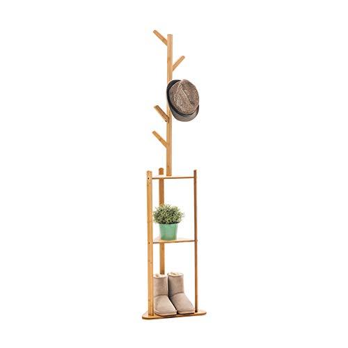 Râteliers multi-usages Porte-Manteau Type de Sol Simple Support de Chambre à Coucher en Bois Massif Porte-vêtements Casiers (Color : Beige, Size : 38 * 31 * 180cm)