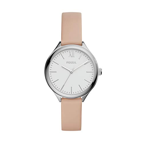 Fossil Women's Suitor Quartz Leather Three-Hand Watch, Color: Silver, Pink (Model: BQ8002)