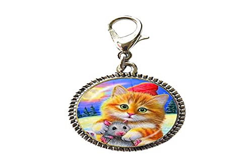 Abalorio de arte con diseño de gato para niños, con cierre de mosquetón, con cierre de mosquetón