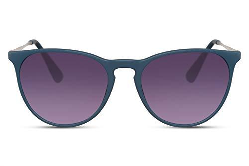 Cheapass Gafas de Sol Mate Blue Montura De Goma Morada Lentes Redondas Moradas Cristales Protección UV400 Mujeres Hombres