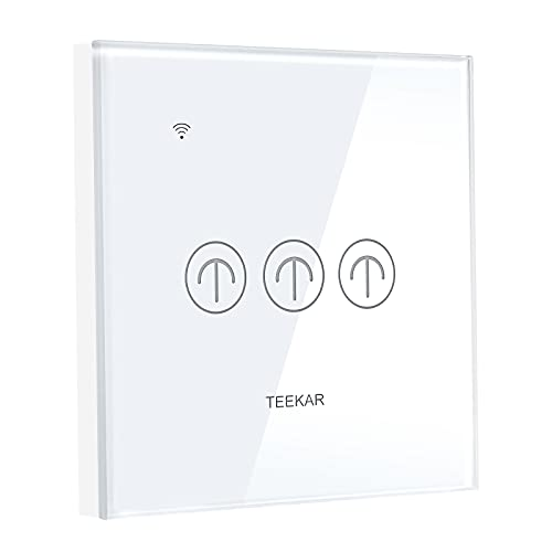Interruptor de luz WiFi Alexa de Teekar, control de aplicación inteligente, para todas las casas, interruptor inteligente silencioso con función de temporizador, compatible con Alexa