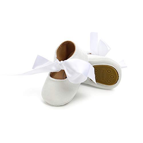 PanGa Baby Boys Girls Mary Jane Flats Anti-Slip Rubber Soft Sole Bow Toddler First Walkers Princess Party Prewalker Dress Shoes (0-6 Months, B-White)
