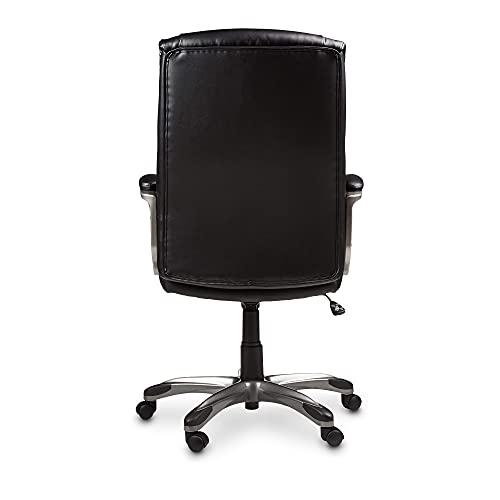 Amazon Basics Executive Office Desk Chair with Armrests, Adjustable Height/Tilt, 360-Degree Swivel, 275Lb Capacity - Black/Pewter