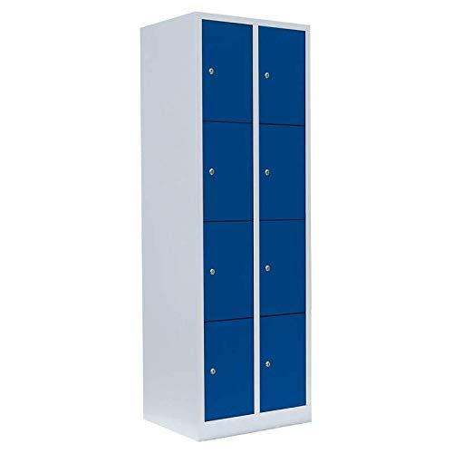 Schließfachschrank kompl. montiert und verschweißt Wertfachschrank Fächerschrank Spind Umkleideschrank 8 Fächer-Spint 520421 blau Maße:1800 x 600 x 500 mm