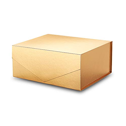 PACKHOME Gift Box 9.5x7x4 Inches, Bridesmaid Box, Rectangle Collapsible Box with Magnetic Lid for Gift Packaging (Grossy Gold