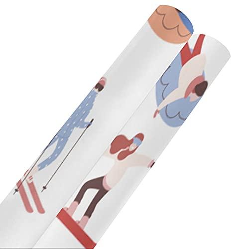 Esquiadores y snowboarders Papel de seda para envolver dibujos animados de 58 x 23 pulgadas 2 rollos Papel de regalo Papel de regalo Papel de regalo para el día de la madre Pascua Bodas Cum