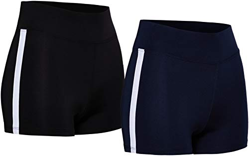 Marca Amazon - AURIQUE Shorts de Deporte con Banda Lateral Mujer, Multicolor (Black & Navy), 38, Label:S