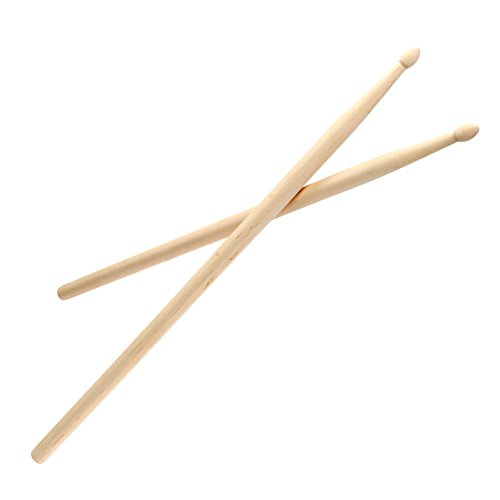 Drum Sticks 5A Wood Tip, 1 pair American Classic Maple Wood Drumsticks with Oval Tip for Drummer Playing Beginner Practice Student, 5A Sticks for Jazz Pop Rock Music