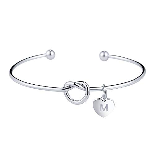 Bracciale con nodo iniziale braccialetto argento per donna ragazza lettera M per damigelle d'onore proposta gioielli regalo di nozze
