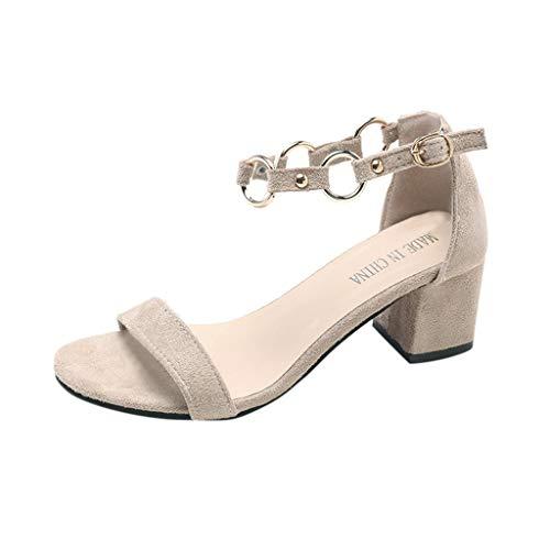 Vovotrade dames pompen enkelriempjes blokhak gepointed toe sandalen metalen gesp | Comfortabele hoge hakken | Plateau suède look zwart, beige, roze 34-40