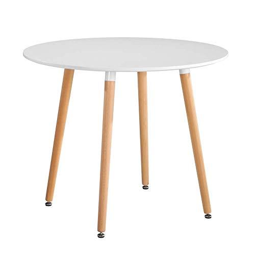 Mesa de comedor redonda de estilo moderno de 80 cm con patas de madera de haya maciza, Madera de diseño madera, Blanco, 80x80x75cm